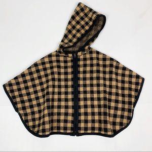 Zara Knitwear Check Hooded Cape Poncho